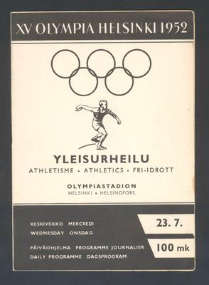 Programme, 1952 Helsinki Olympic Games athletic events - 23 July