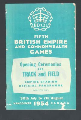 Programme, 1954 British Empire and Commonwealth Games Opening Ceremonies & Track and Field