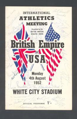 Programme, International Athletics Meeting - British Empire v USA, 4 August 1952