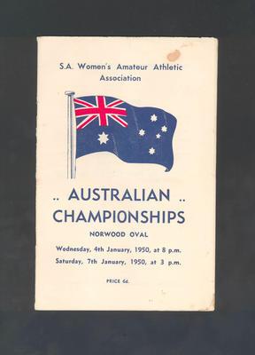 Programme, Australian Championships - January 1950
