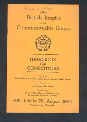 "Book, British Empire & Commonwealth Games ""Handbook for Competitors"" - 1954"