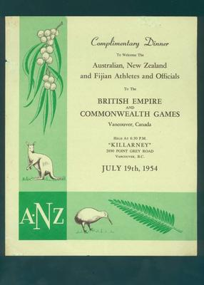 Menu, Welcome Dinner for Australian, New Zealand & Fijian Athletes - 19 July 1954