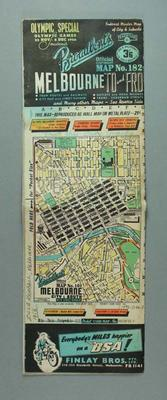Map of Melbourne, 1956 Olympic Games; Documents and books; 1996.3176.1