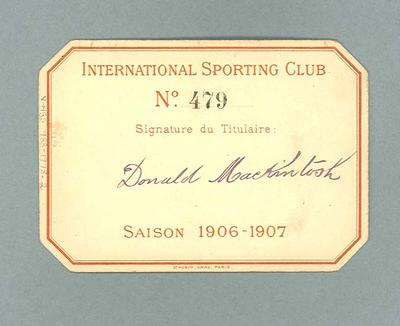 Identification card used by Donald Mackintosh, 1906-07