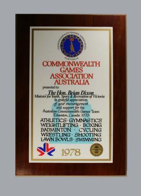 Plaque - Commonwealth Games Association Australia 1987 - presented to the Hon. Brian Dixon