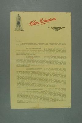 Letter, advertising VS Richardson's Scientific Postal Golf Lessons c1930s