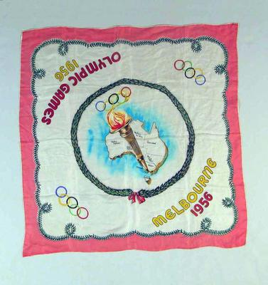 Silk scarf issued for the 1956 Melbourne Olympic Games
