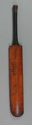 Cricket bat presented to M McGrath, Balaclava CC Best Bowling Average 1881-82