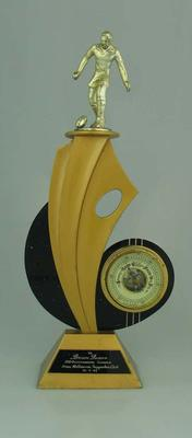 Engraved trophy presented to Brian Dixon by Melbourne Supporters Club on 31 July 1965.