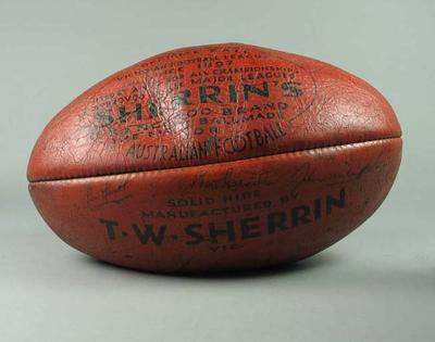 Football presented to Jack Irving, Victorian Umpire at 1961 ANFC Carnival