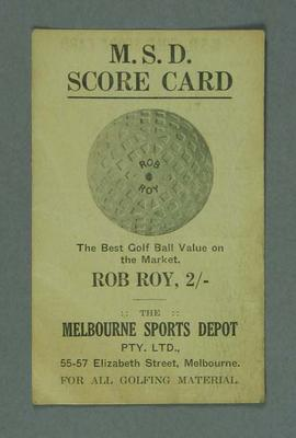 Melbourne Sports Depot golf scorecard