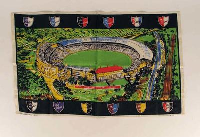 Tea towel, illustration of Melbourne Cricket Ground and VFL team logos c1960s