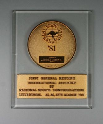 Plaque - First General Meeting, International Assembly, National Sports Confederations 1981 - presented to The Hon. Brian Dixon M.P.