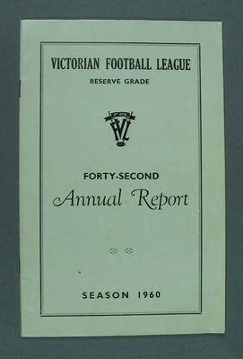 VFL Reserve Grade 42nd Annual Report, Season 1960