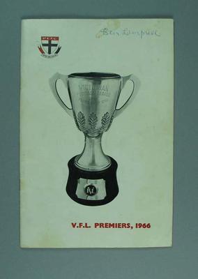 Annual Report, St Kilda Football Club 1966 Premiership Season