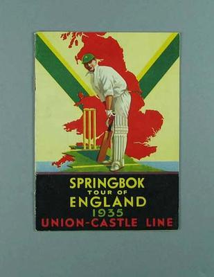 "Booklet, ""Springbok Tour of England 1935"""