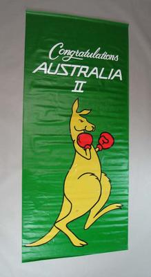 Banner - 'Congratulations Australia II' - created to welcome home the 1983 America's Cup winning crew