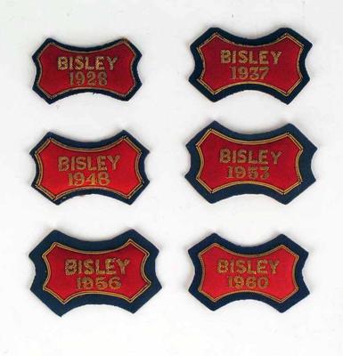 Six bullion badges awarded to P A Pavey - Bisley 1928, 1937, 1948, 1953, 1956, 1960