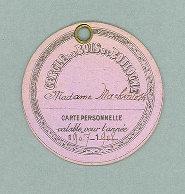 Identification card used by Donald Mackintosh, 1907-08