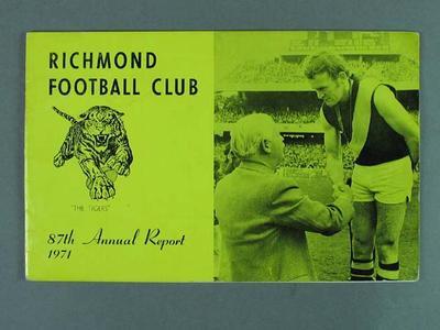 Richmond Football Club annual report, season 1971