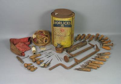 Tools for restringing tennis racquets, c1934-40