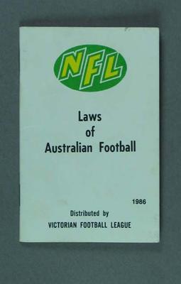 Booklet, NFL Laws of Australian Football 1986
