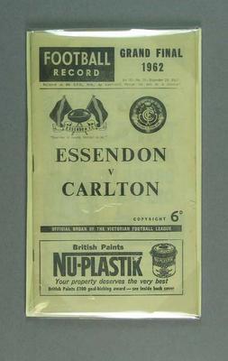 Football Record, 1962 VFL Grand Final