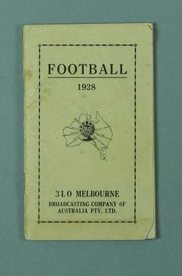 "Booklet, ""Football 1928"""