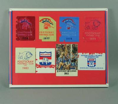 Framed membership tickets for Footscray FC, c1974-90; Framed; Documents and books; 1997.3293