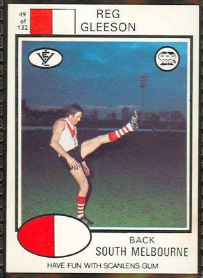 1975 Scanlens VFL Football Reg Gleeson trade card