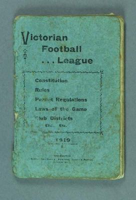 Booklet, Victorian Football League Constitution & Rules 1919