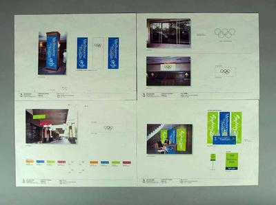 Signage blueprints x 4 - Hilton Hotel, athlete accommodation during Olympic Games Football Tournament September 2000