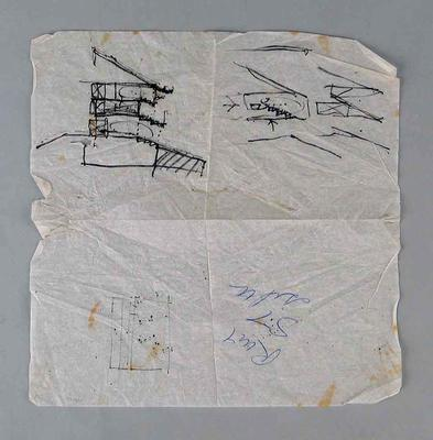 Paper napkin featuring first design for the Great Southern Stand drawn by architect Darryl Jackson on 15/1/89.