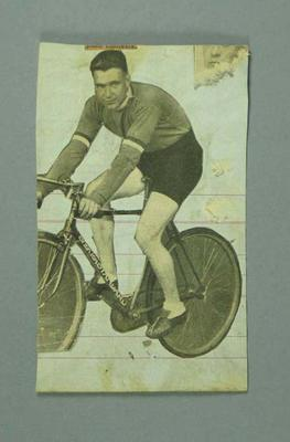 Newspaper clipping of a cyclist believed to be R. L. Bates.