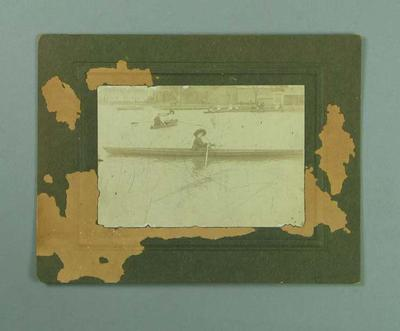Photograph of woman rowing on Albert Park Lake, c1910; Photography; 1991.2417.8