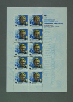 Stamp sheet, 2002 Australian Winter Olympic Team Gold Medallist - Steven Bradbury
