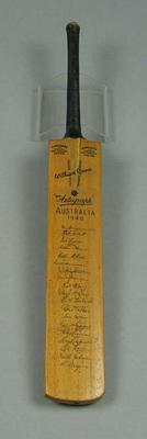 Miniature cricket bat, features transferred autographs of 1948 Australian XI