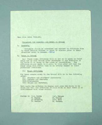 Memo from Arena Manager - Procedure for Assembly and Entry to Ground, 1956 Olympic Games.