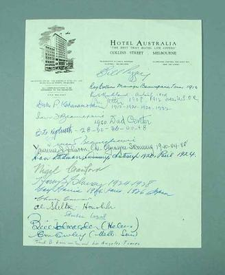 Hotel Australia letterhead with signatures of former Olympians; Documents and books; Documents and books; 2003.3893.3
