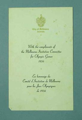 Compliments slip, Melbourne Invitation Committee for 1956 Olympic Games