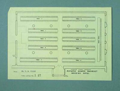 Seating plan - 1956 Olympic Games Banquet, Menzies Hotel, issued to T H Pizzey