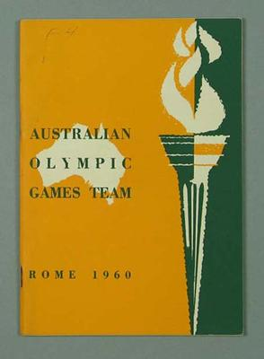 Booklet - Australian Olympic Games Team/Rome 1960; Documents and books; 2003.3893.7