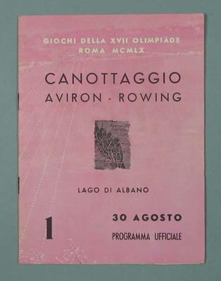Programme for Rowing - 1960 Rome Olympic Games - Canottaggio, Aviron-Rowing