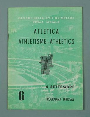 Programme - Athletics, 1960 Rome Olympic Games - 6 September
