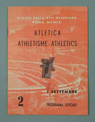 Programme - Athletics, 1960 Rome Olympic Games - 1 September