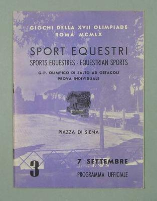 Programme - Equestrian, 1960 Rome Olympic Games - 7 September