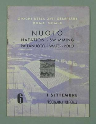 Programme - Swimming & Water polo, 1960 Rome Olympic Games - 1 September