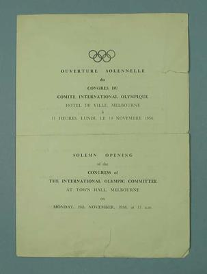 Programme - Solemn Opening of the Congress of the IOC, 19 November 1956