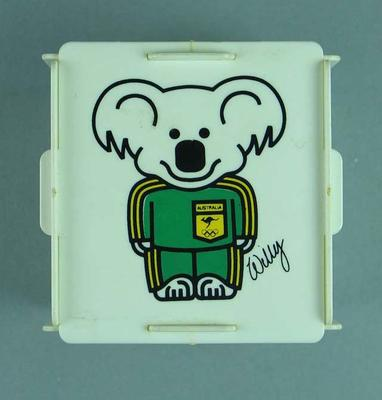 "Money box - 1984 Los Angeles Olympic Games, Supporters Club  - ""Willy says Join the ANZ Olympic Supporters' Club"""
