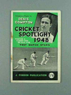 """Booklet, """"Cricket Spotlight 1948"""""""